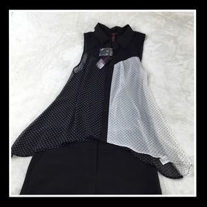 NWT MATERIAL GIRL BLACK AND WHITE POKE A DOT TOP M
